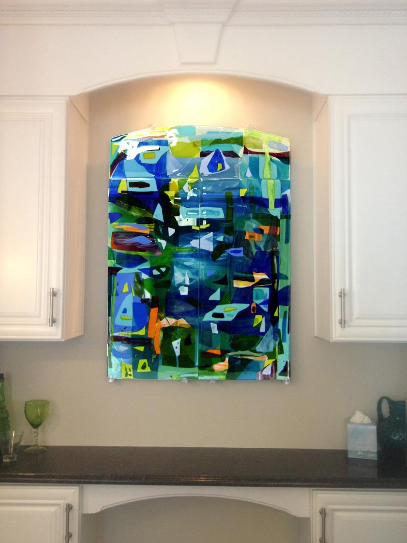 20 collection of abstract fused glass wall art wall art for Glass panel walls