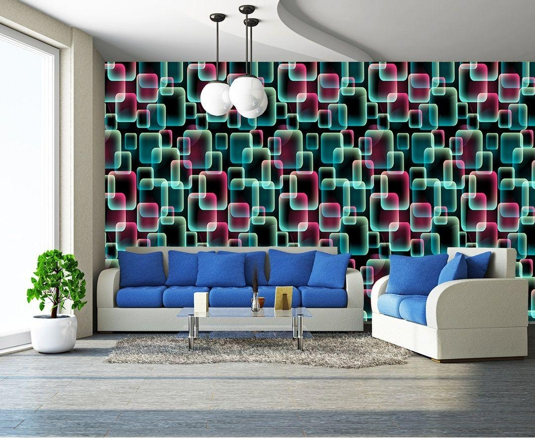 Colours, 3D Squares Art Wall Mural Decor Photo Wallpaper Pertaining To Abstract Art Wall Murals (View 2 of 20)