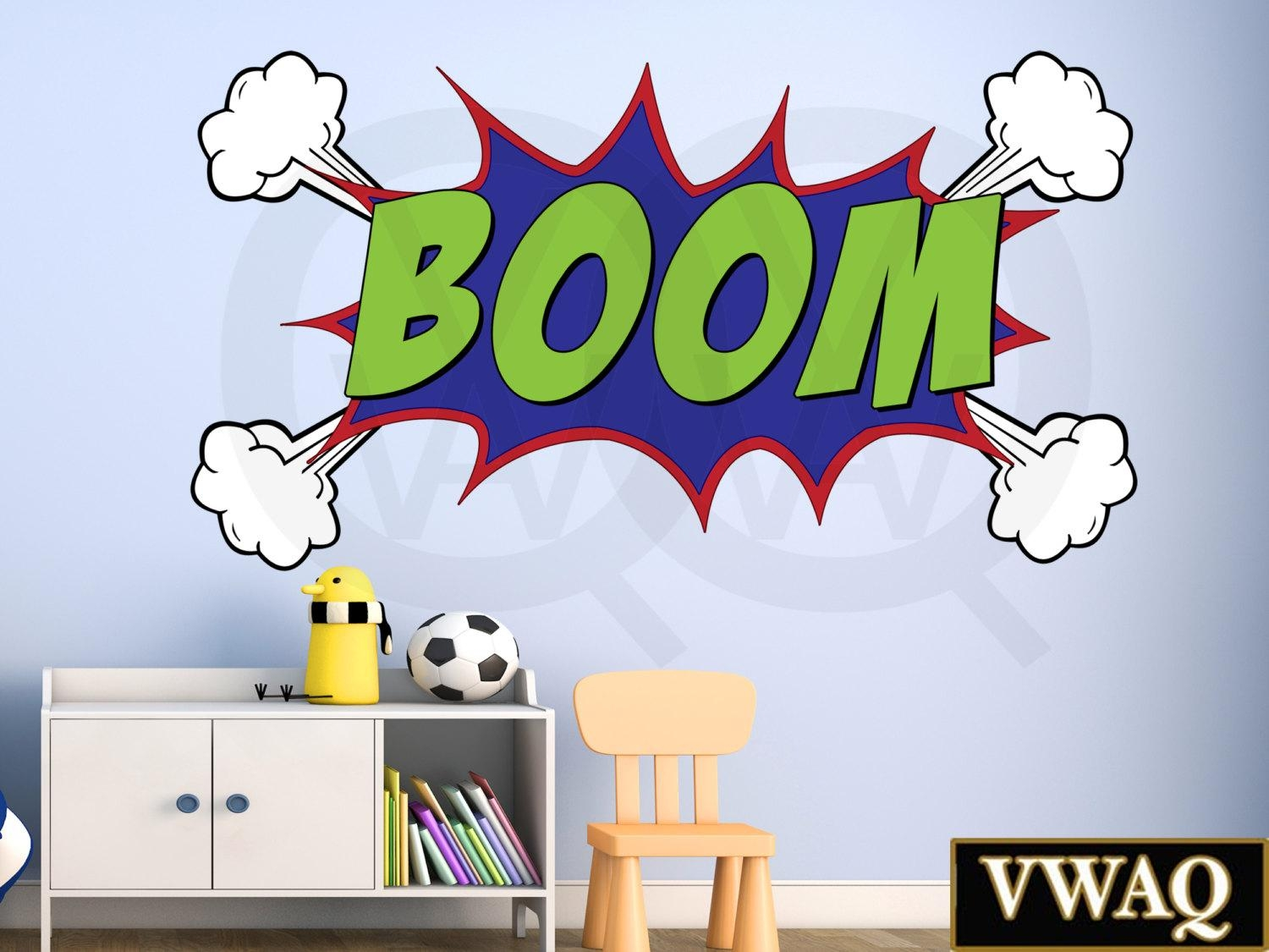 Comic Book Boom Wall Decal Boom Sound Effect Wall Art Superhero Regarding Superhero Wall Art Stickers (Image 6 of 20)