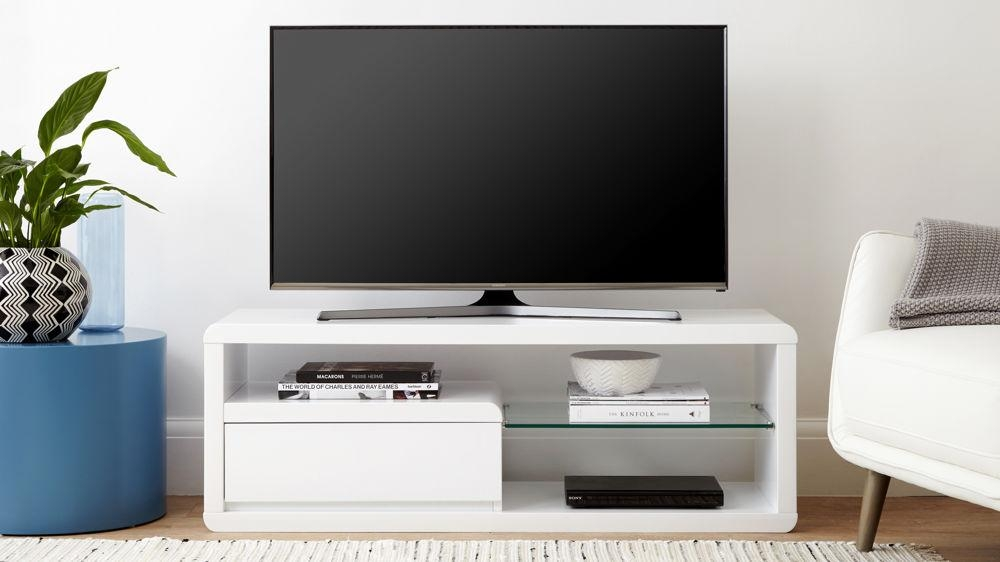 Compact White Gloss Tv Table | Modern Tv Unit | Uk Intended For Best And Newest Compact Corner Tv Stands (View 11 of 20)