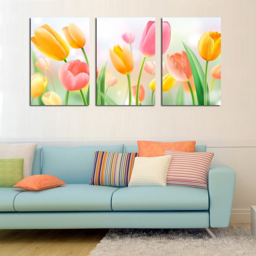 Compare Price To Wall Painting Kit: 20 Collection Of 3 Piece Floral Wall Art