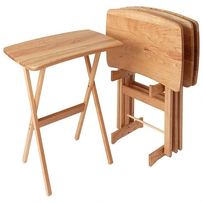 Contemporary Cherry Tv Tray Table Set Of 4 – Manchester Wood Throughout Current Folding Wooden Tv Tray Tables (Image 9 of 20)