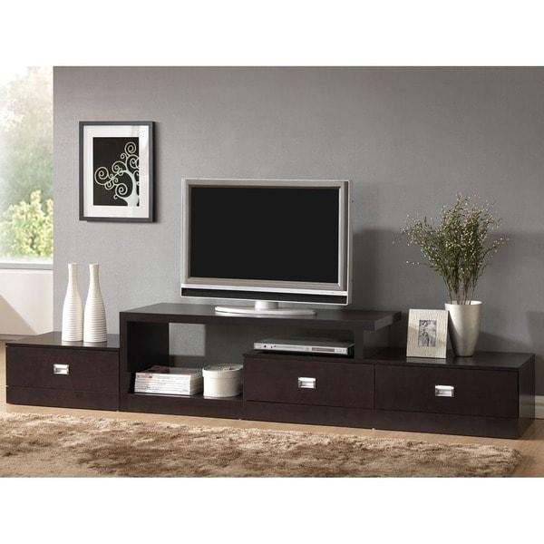 Contemporary Dark Brown Wood Tv Standbaxton Studio – Free Intended For 2018 Contemporary Wood Tv Stands (View 3 of 20)