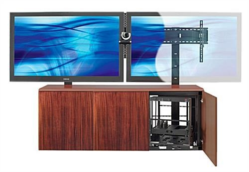 Contemporary Dual Mount Tv Stand W/ Mahogany Veneer Storage Area Regarding 2018 Dual Tv Stands (Image 3 of 20)