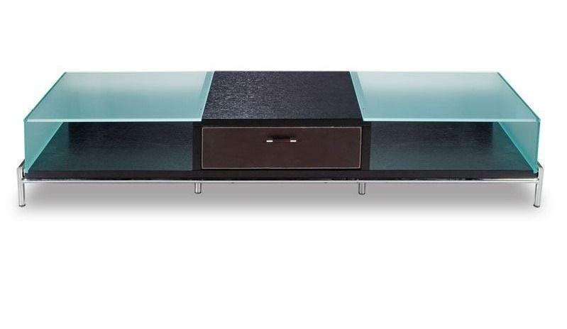 Contemporary Frosted Glass And Wood Tv Stand On Chrome Legs Intended For Most Recently Released Wood Tv Stand With Glass (Image 7 of 20)