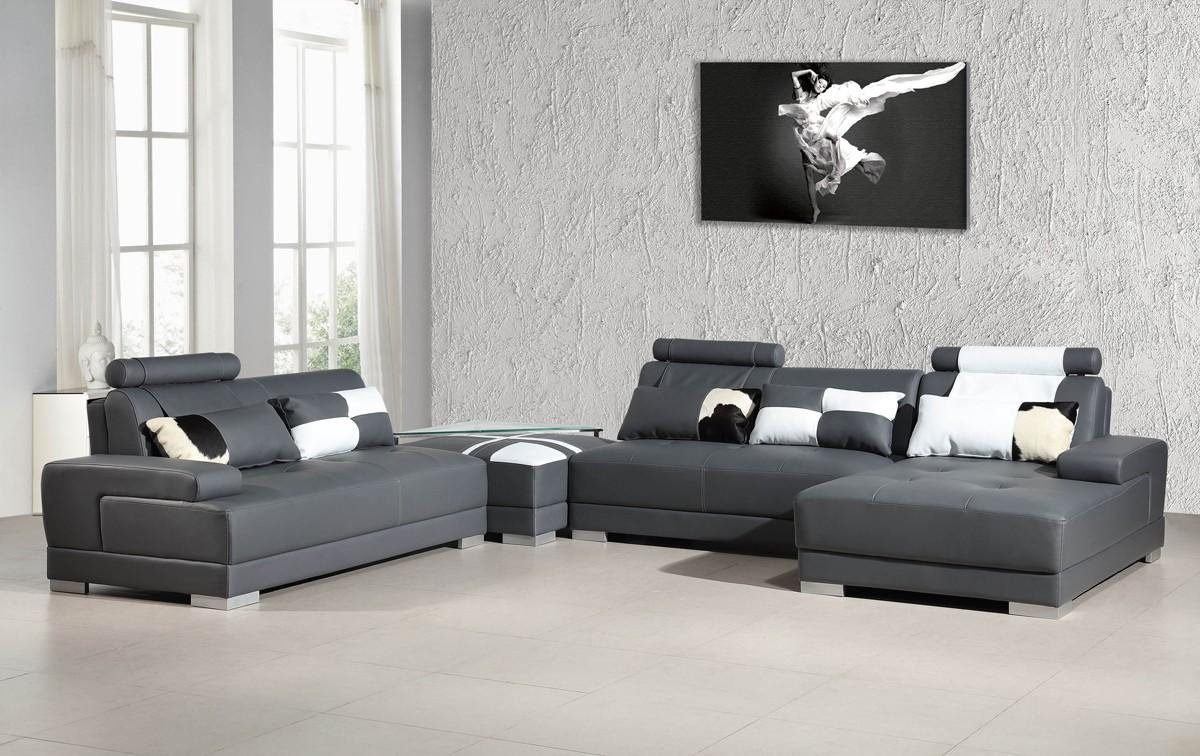 Contemporary Grey Leather Sectional Sofa W/ Ottoman With Regard To Gray Leather Sectional Sofas (Image 8 of 21)