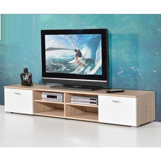 Contemporary Lcd Tv Stand For In Oak With Gloss Doors 19596 Within 2017 Contemporary Oak Tv Stands (Image 6 of 20)