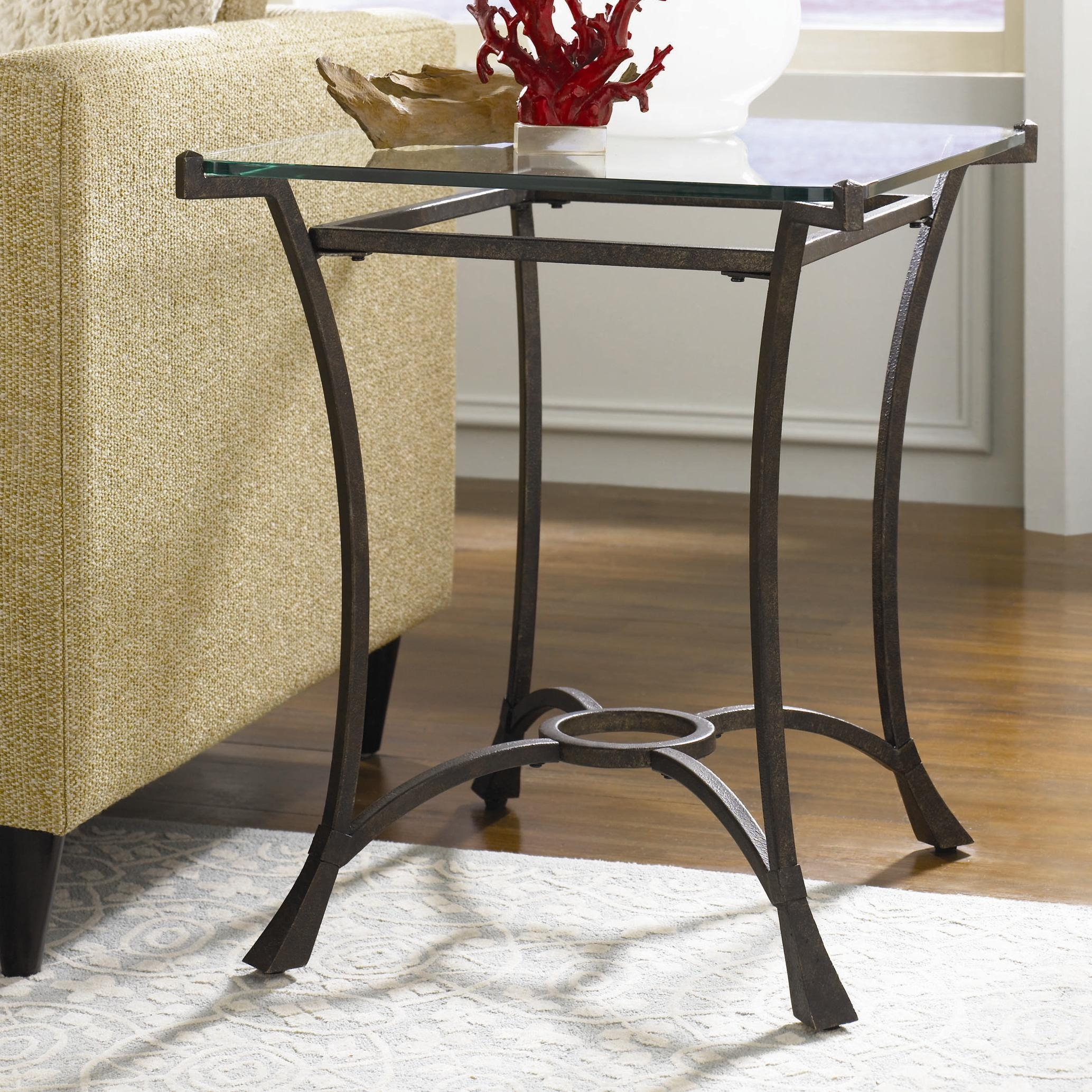 Contemporary Metal Rectangular End Table With Glass Tophammary Pertaining To Metal Glass Sofa Tables (Image 1 of 22)