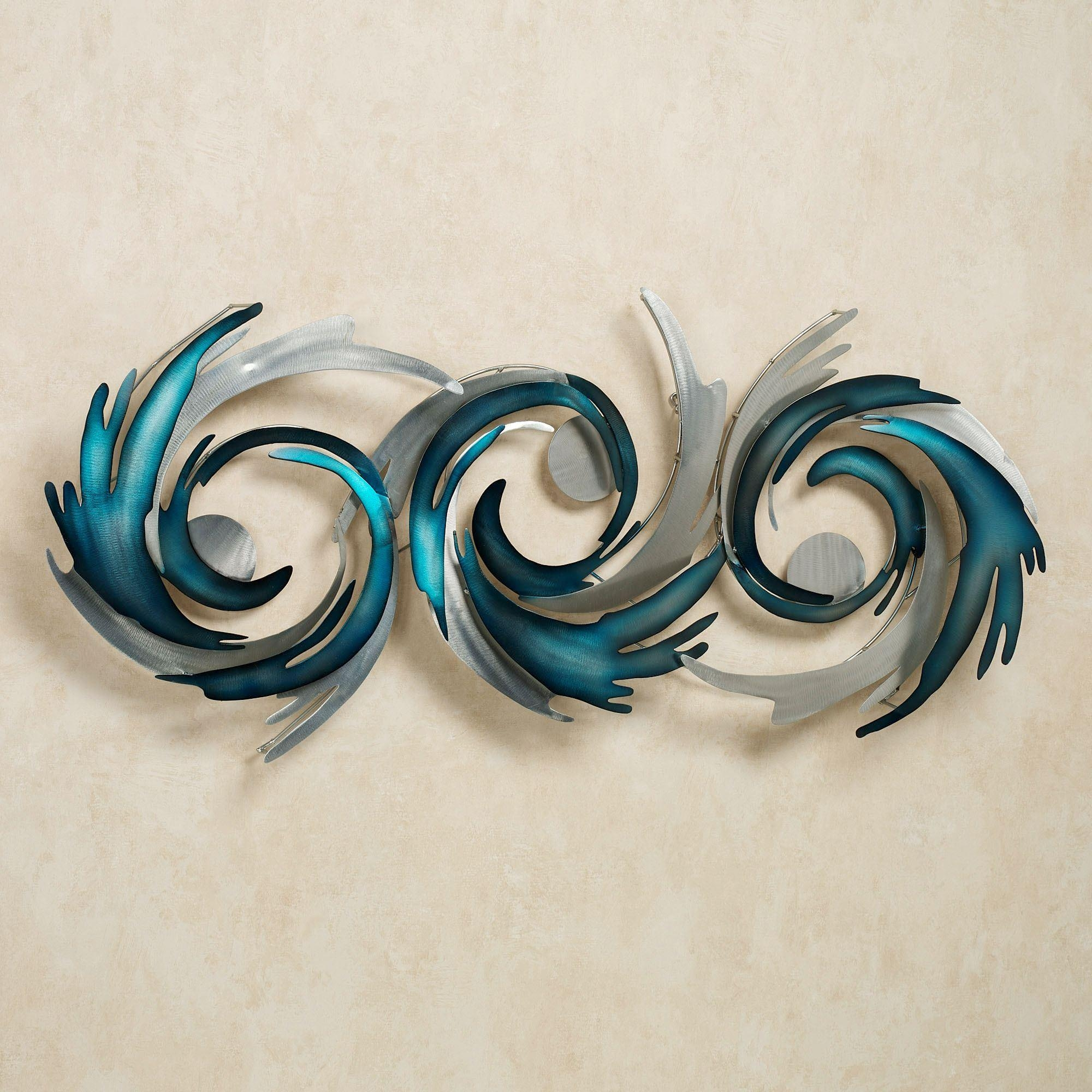 Contemporary Metal Wall Art Sculptures | Touch Of Class In Teal Metal Wall Art (Image 3 of 20)