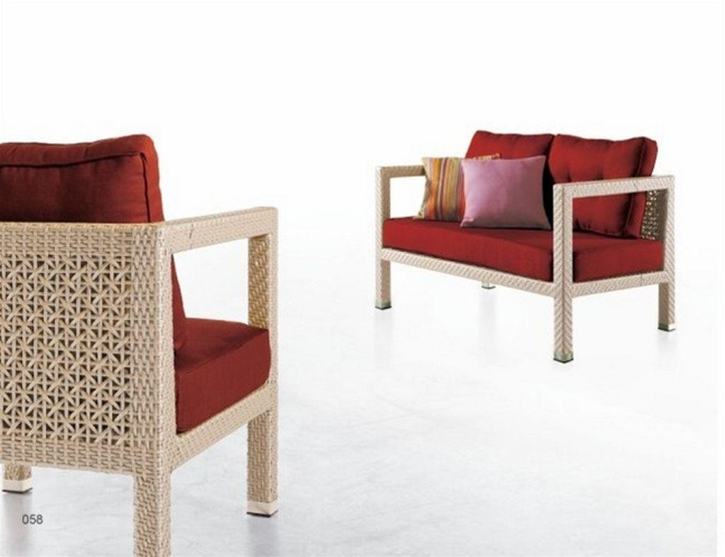 Contemporary Rattan Sofa All Wicker Weather Furniture Set — Desjar Pertaining To Modern Rattan Sofas (Image 5 of 23)