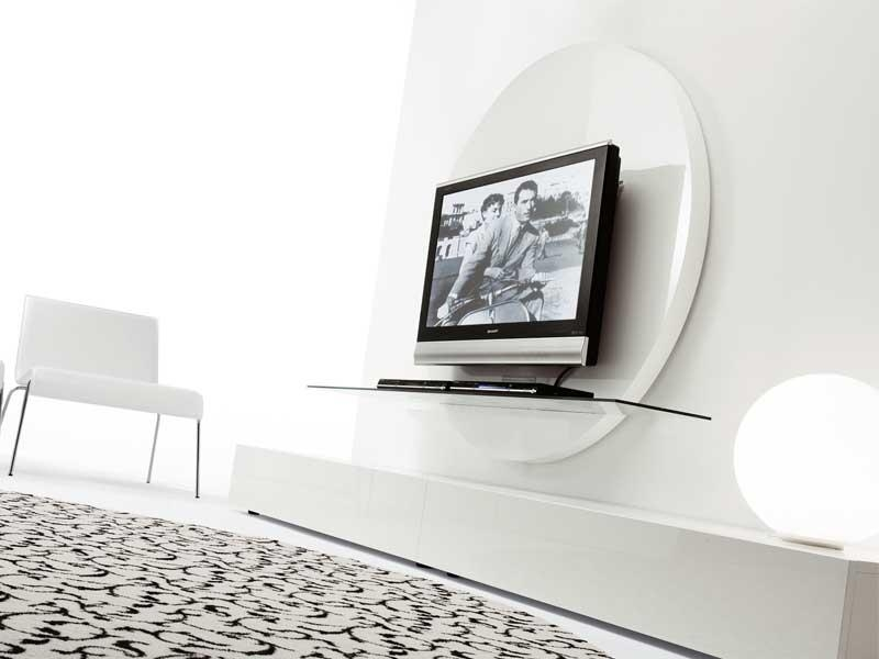 Contemporary Round Black & White Tv Stands From Pacini Regarding Most Popular Contemporary White Tv Stands (Image 3 of 20)