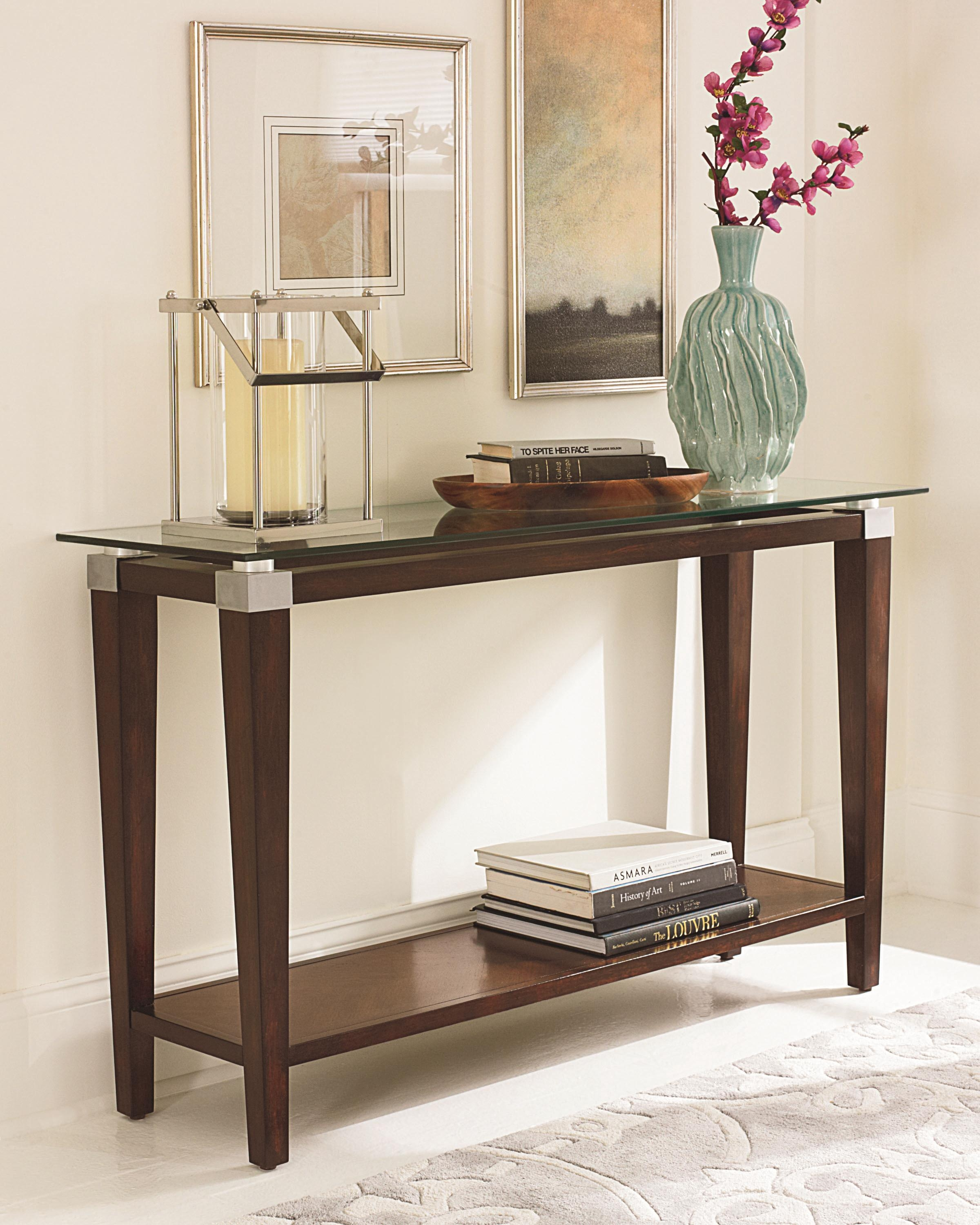Contemporary Sofa Table With Glass Tophammary | Wolf And Within Metal Glass Sofa Tables (Image 3 of 22)