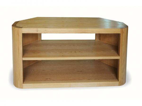 Contemporary Solid Oak Corner Tv Unit With Curved Corners Pertaining To 2018 Modern Corner Tv Units (Image 12 of 20)