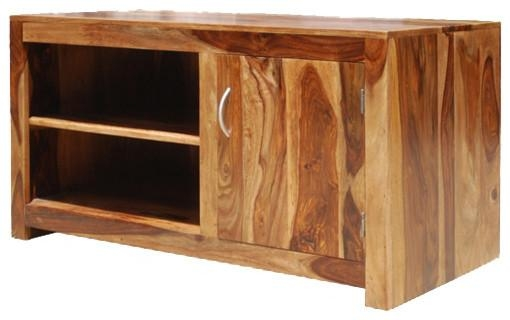 Contemporary Solid Wood Media Console Entertainment Tv Stand Inside Latest Hard Wood Tv Stands (View 19 of 20)