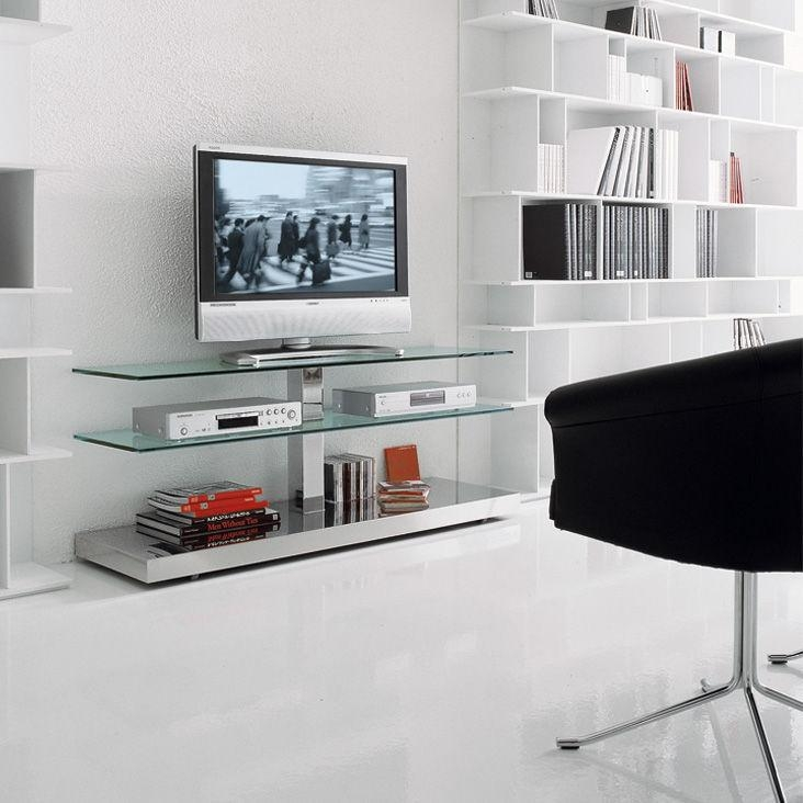 Contemporary Tv Cabinet / Glass / Stainless Steel – Playpaolo For Most Current Glass Tv Cabinets (Image 8 of 20)