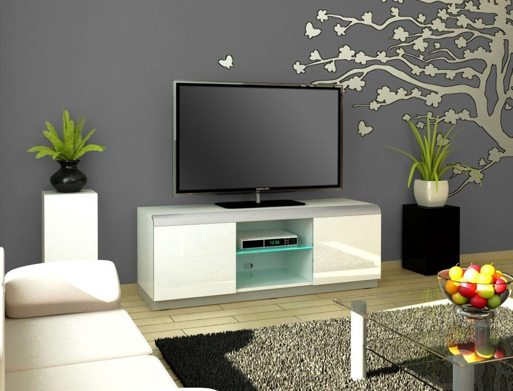 Contemporary Tv Stands & Units | Denver 2 White Tv Stand Intended For Most Popular Tv Cabinet Gloss White (Image 4 of 20)
