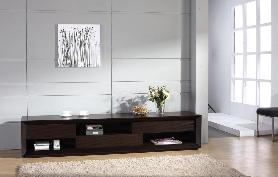 Contemporary Wenge Wood Finish Tv Stand With Unique Storage Spaces Pertaining To Recent Contemporary Tv Stands (Image 11 of 20)