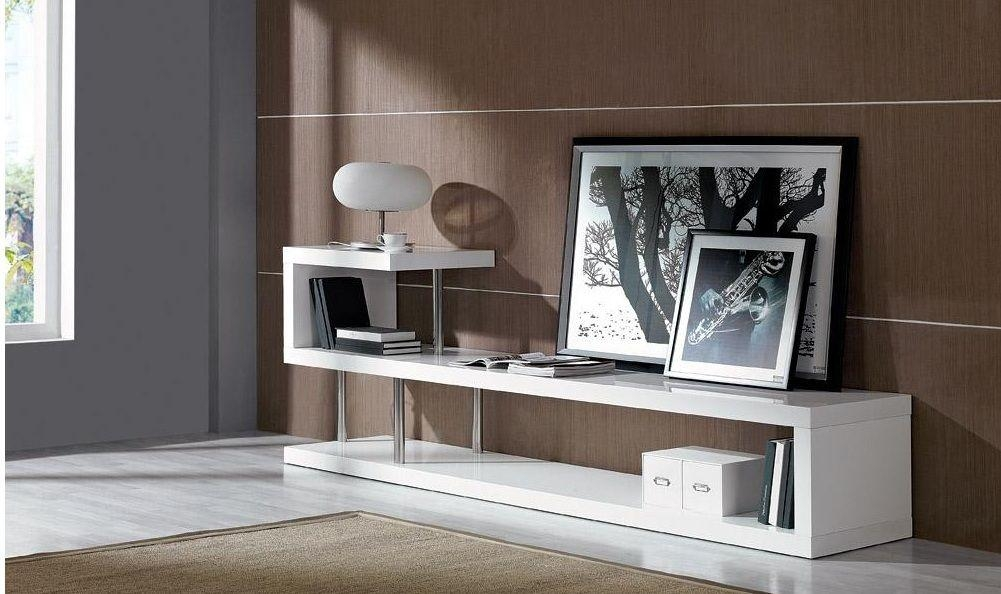 Contemporary White Lacquer Tv Stand Dayton Ohio Vwin5 For 2017 Contemporary Tv Stands (Image 12 of 20)