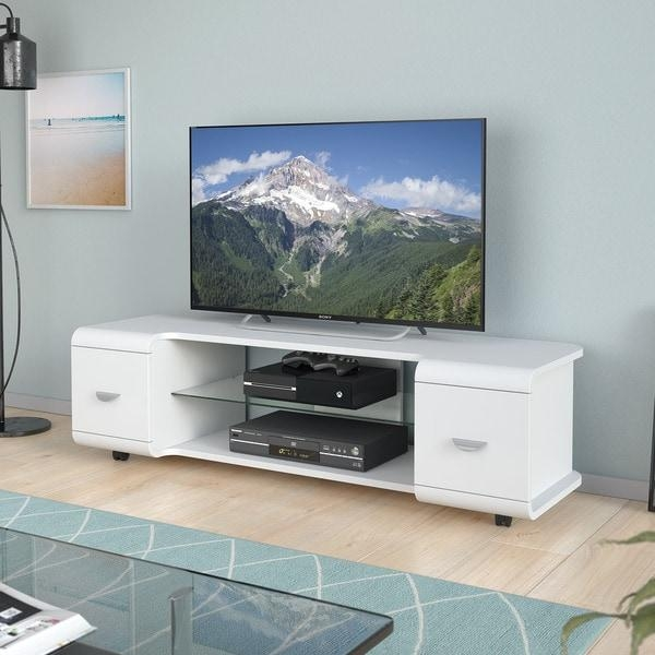 "Corliving Panorama Tv Stand With Casters, For Tvs Up To 65"" – Free With Regard To Most Current Panorama Tv Stands (Image 6 of 20)"