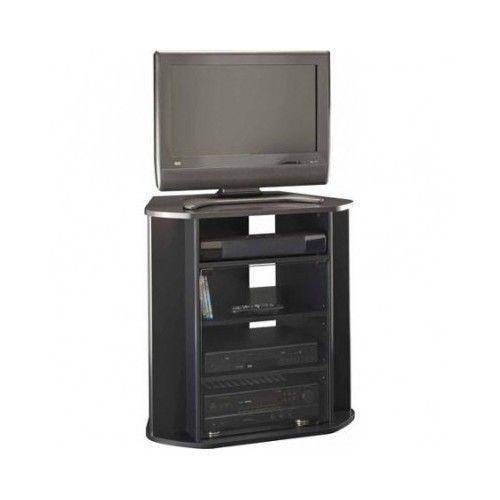 Corner Entertainment Unit Tall Black Tv Stand Storage Console In Recent Black Tv Stand With Glass Doors (Image 11 of 20)