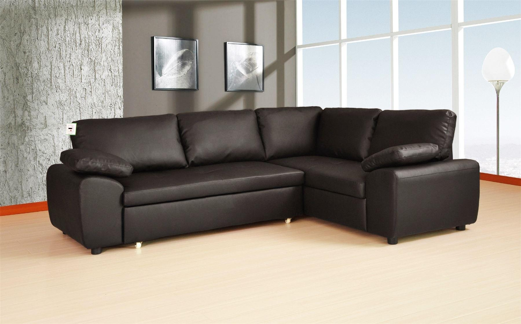 Corner Sofa Black Leather Dadka Modern Home Decor And E Saving Within Small Brown Leather Corner Sofas (Image 6 of 21)