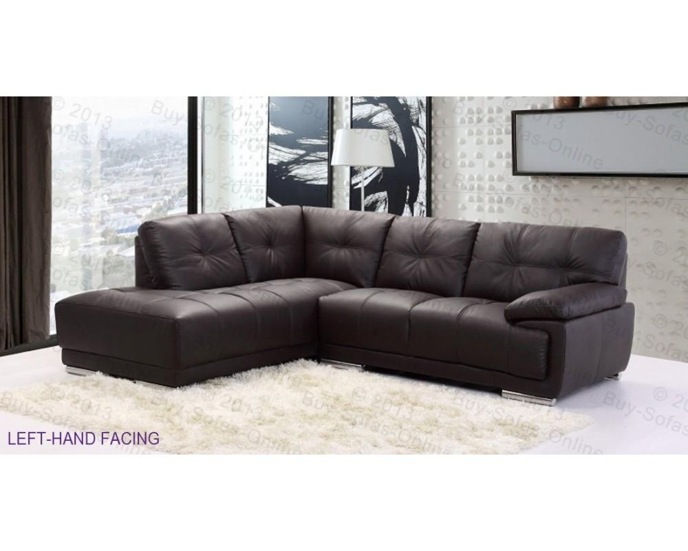 Corner Sofa Leather With Denver Leather Corner Sofa | Modern For Small Brown Leather Corner Sofas (Image 7 of 21)