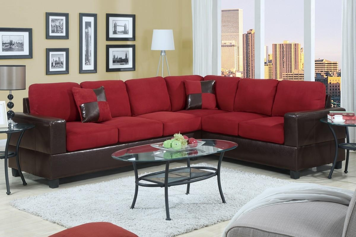 Corner Sofa With Black Leather Base And Red Fabric Seven Seat Throughout Oval Sofas (Image 4 of 21)