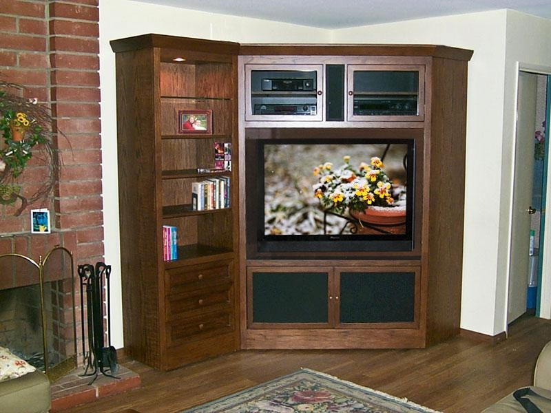Corner Tv Armoire And Bookcase C 180 – Oak Wood Designs For Flat Inside Most Up To Date Corner Tv Cabinets For Flat Screens With Doors (View 2 of 20)
