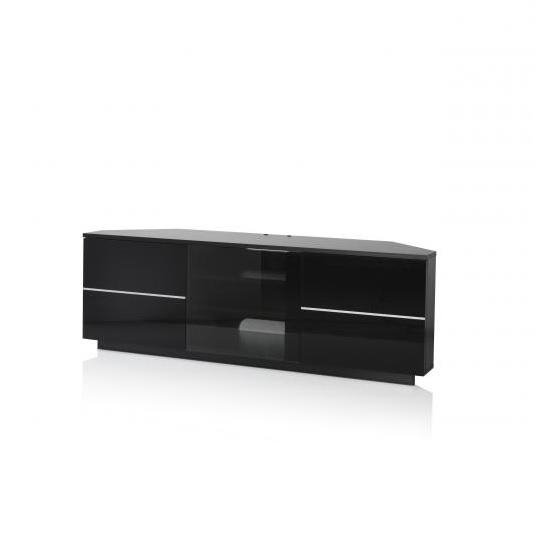 Corner Tv Stand In Black With Glass And Gloss Doors In Best And Newest Black Corner Tv Cabinets (View 4 of 20)