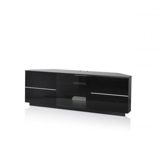 Corner Tv Stand In Black With Glass And Gloss Doors With Most Recently Released Black Tv Cabinets With Drawers (Image 14 of 20)