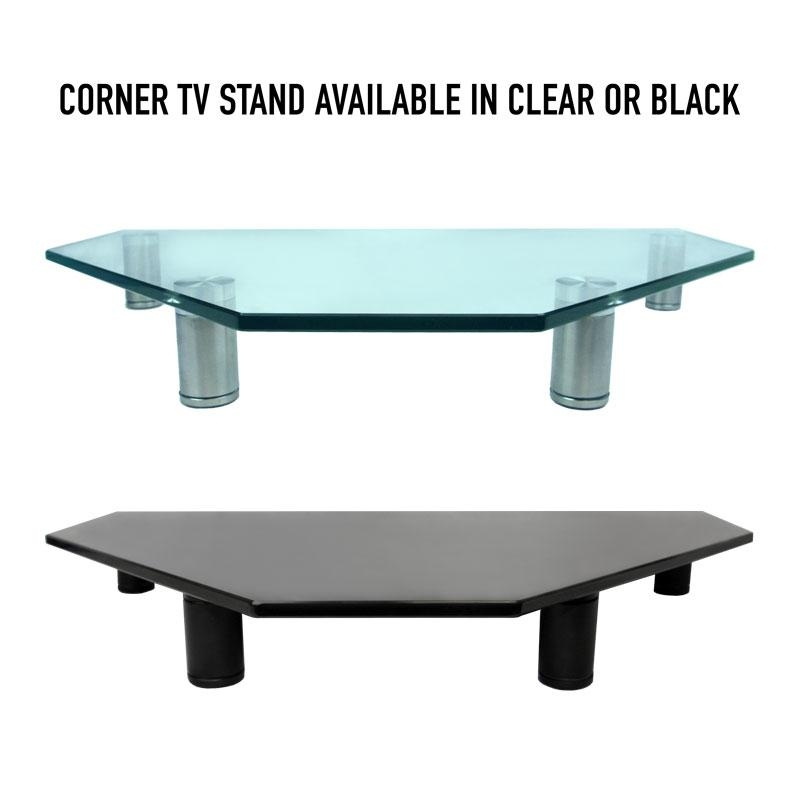 Corner Tv Stand | Monitor Stand| For Desktop I Clear I Av Express Inside Most Up To Date Clear Glass Tv Stand (Image 5 of 20)