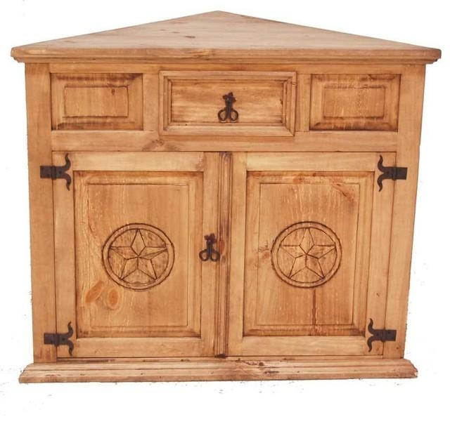 Corner Tv Stand With Star Detail – Southwestern – Entertainment Intended For Recent Rustic Corner Tv Stands (View 9 of 20)