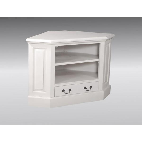 Corner Tv Unit – Single Drawer – French White For Recent White Corner Tv Cabinets (Image 13 of 20)