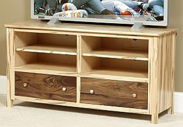 Cornwell Large Wormy Maple/walnut Tv Stand – Amish Oak Furniture With Regard To Best And Newest Maple Tv Cabinets (Image 2 of 20)