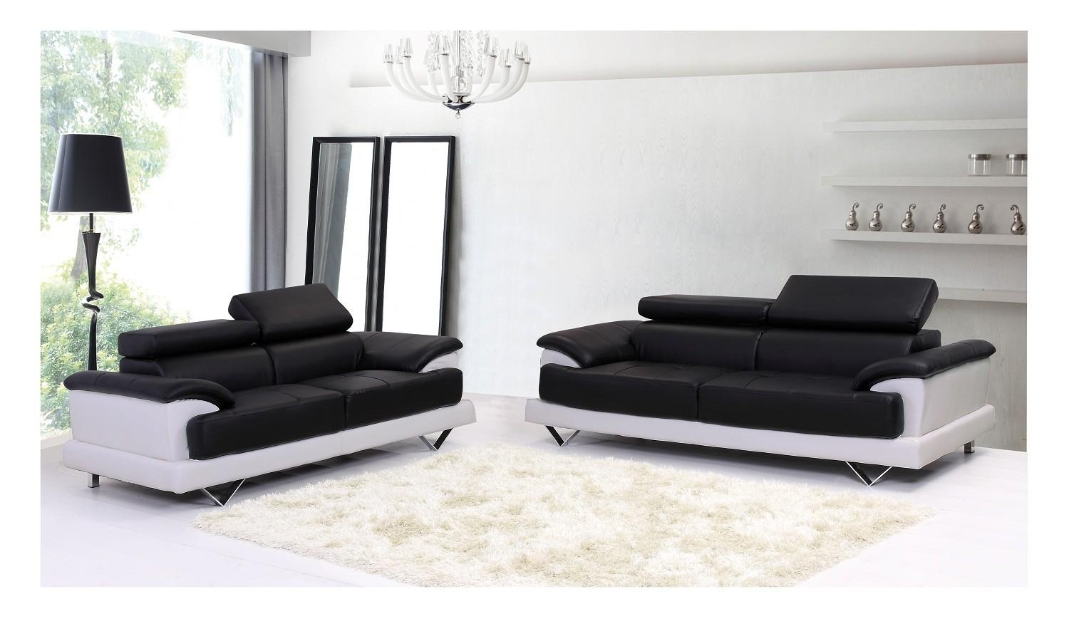 Cosmo Black And White Leather 3 And 2 Seater Leather Sofas With White And Black Sofas (Image 16 of 21)