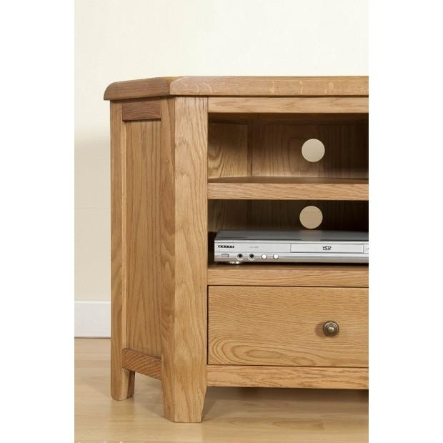 Cotswold Rustic Light Oak Corner Tv Unit | Oak Furniture Uk Pertaining To Latest Light Oak Corner Tv Cabinets (Image 7 of 20)