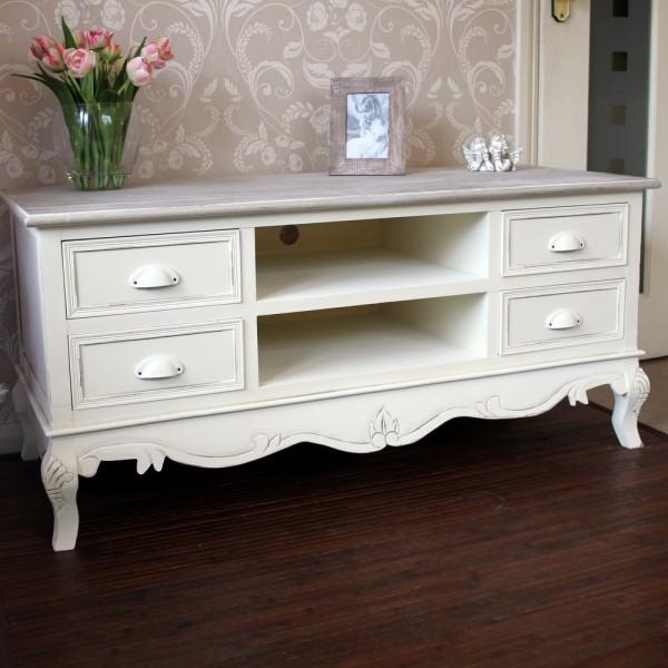 Country Ash Range – Large Tv Cabinet With Drawers Pertaining To Newest Cream Tv Cabinets (Image 8 of 20)