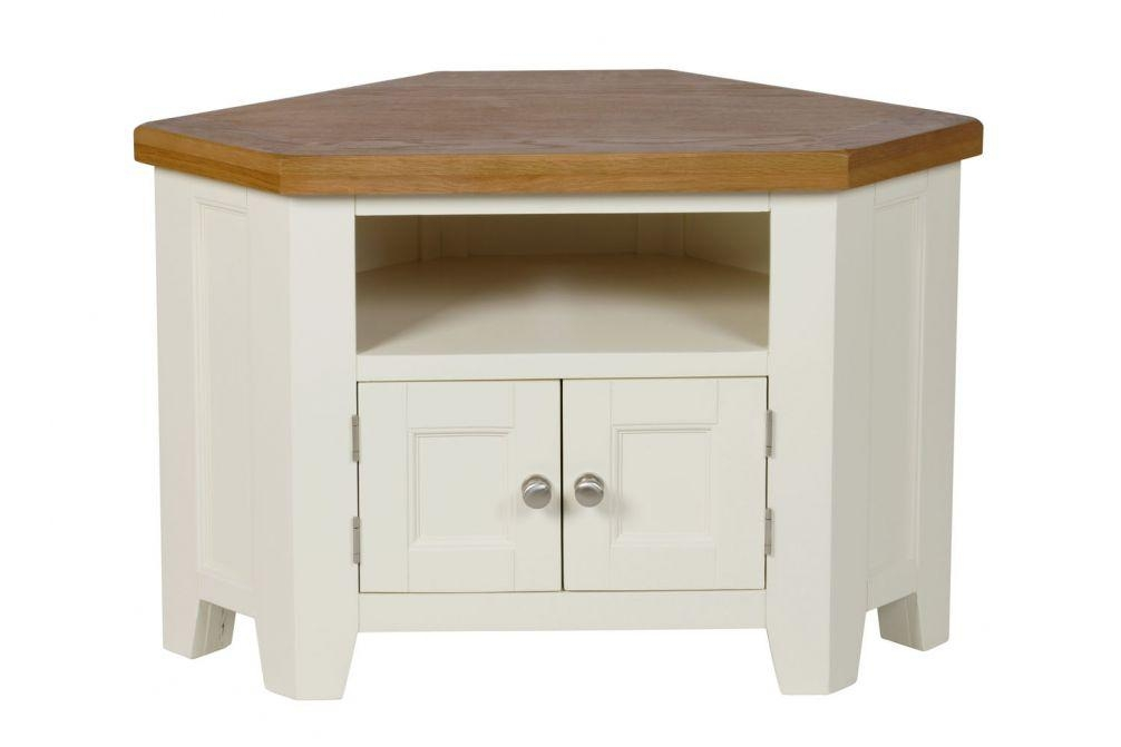 Country Oak Cream Painted 2 Door Corner Tv Unit Throughout Most Up To Date Painted Corner Tv Cabinets (Image 6 of 20)