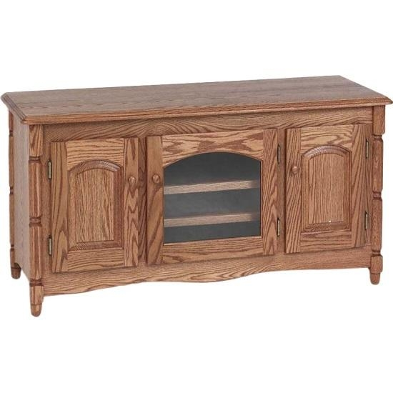 Country Style Solid Oak Tv Stand W/cabinet – 51″ – The Oak Throughout Most Popular Solid Oak Tv Stands (Image 9 of 20)