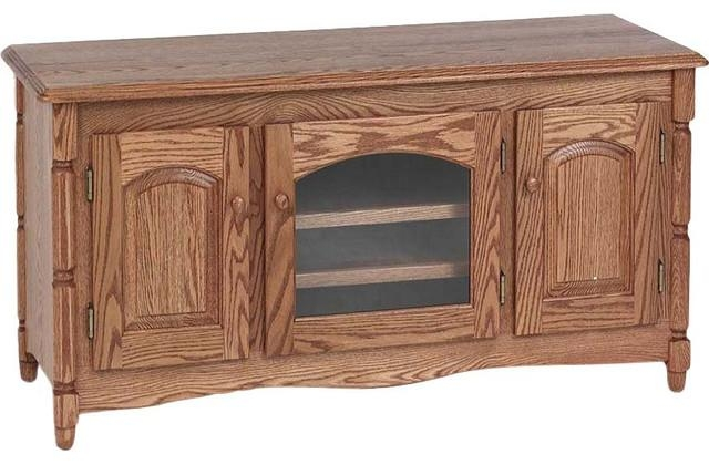 "Country Style Solid Oak Tv Stand With Cabinet, 51"" – Traditional Intended For Most Popular Hard Wood Tv Stands (View 5 of 20)"