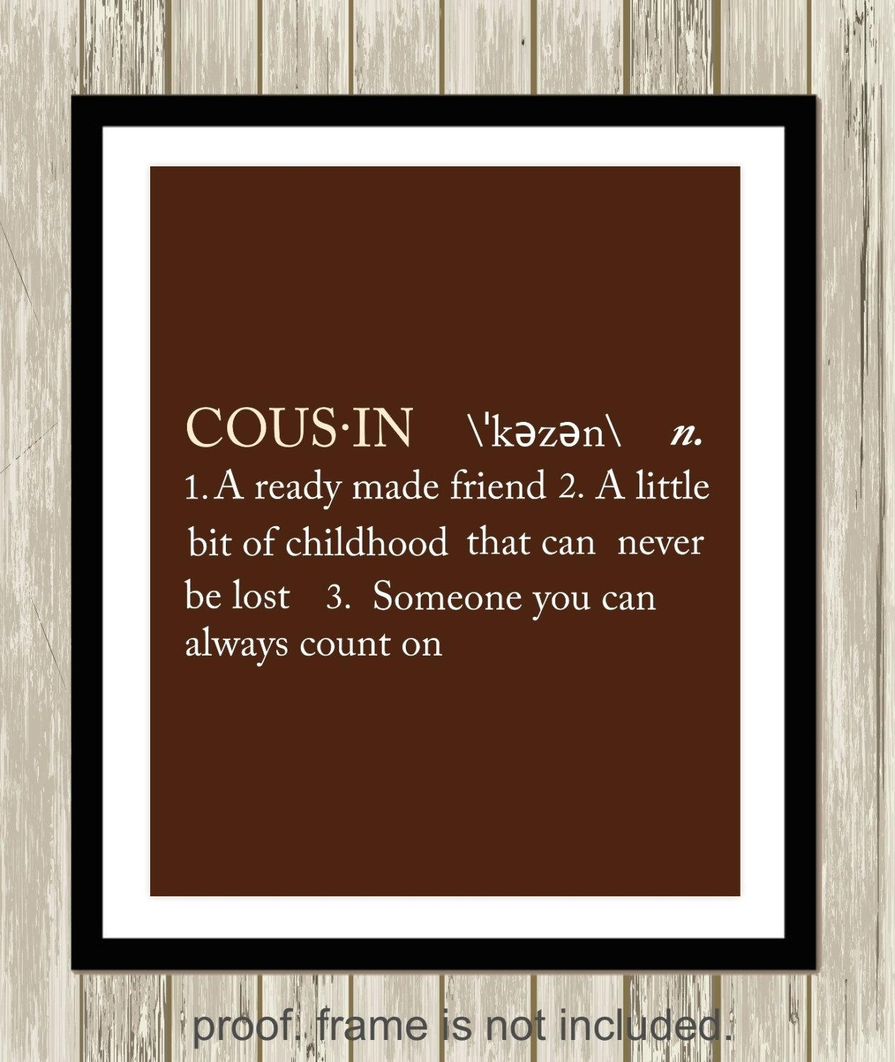 Cousin Definition Sister Definition Brother Definition Gift For Brother Definition Wall Art (Image 16 of 20)