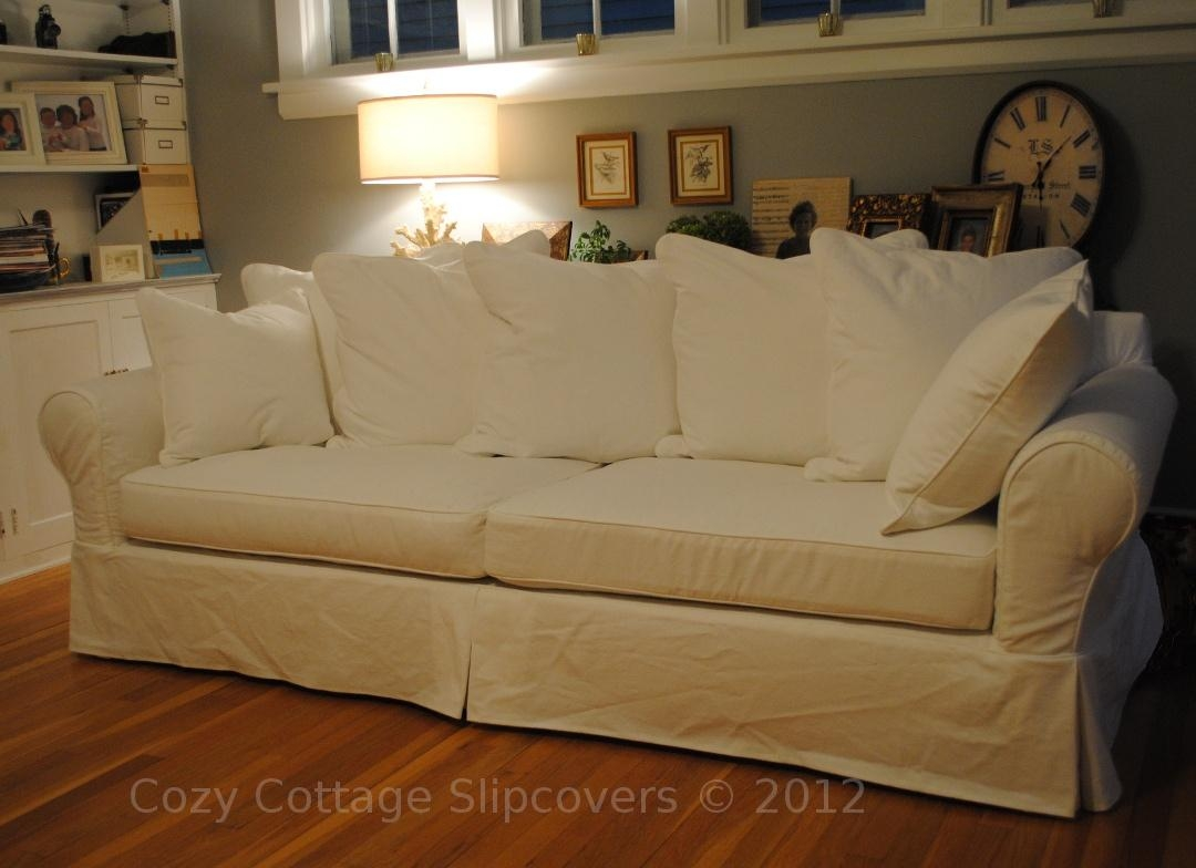 Cozy Cottage Slipcovers: Pillow Back Sofa Slipcover Pertaining To Large Sofa Slipcovers (Image 1 of 23)