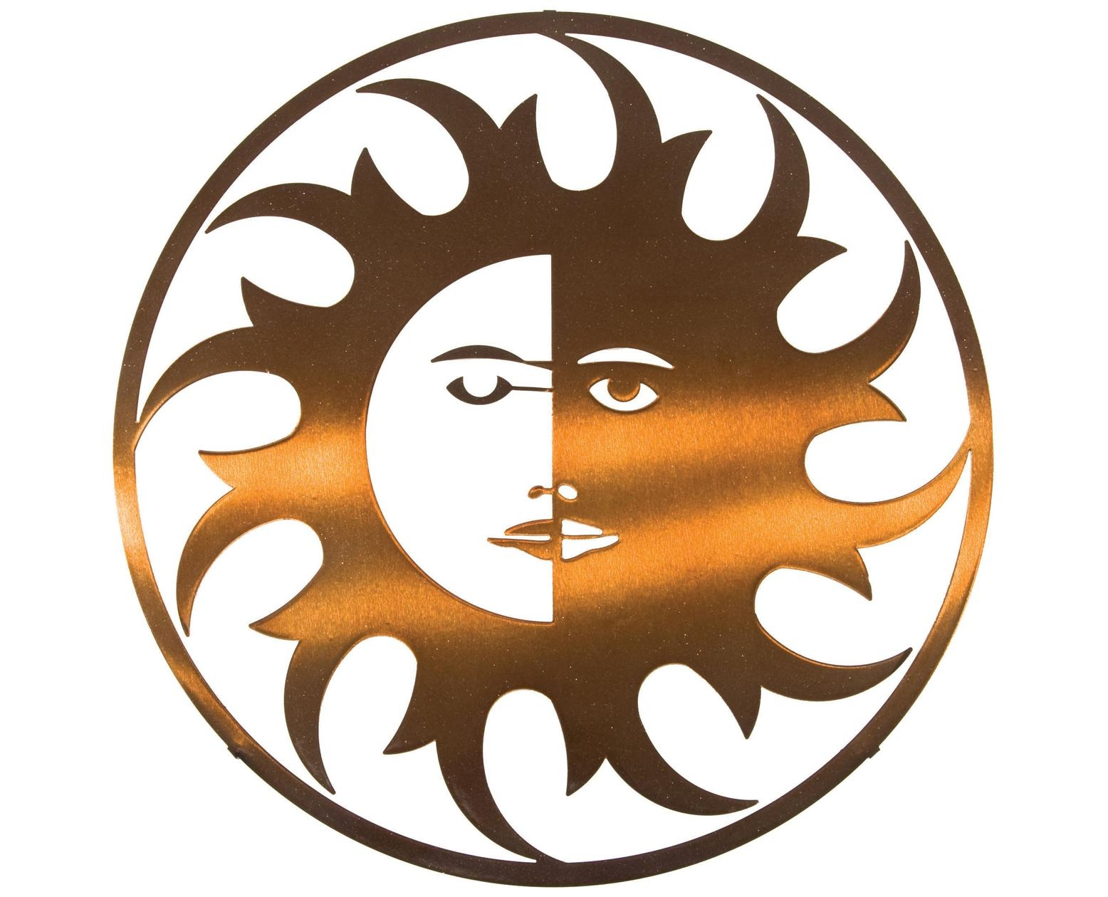Cozy Sun Moon Stars Metal Wall Art Copper Patina Sun Face Metal Intended For Sun And Moon Metal Wall Art (Image 10 of 20)