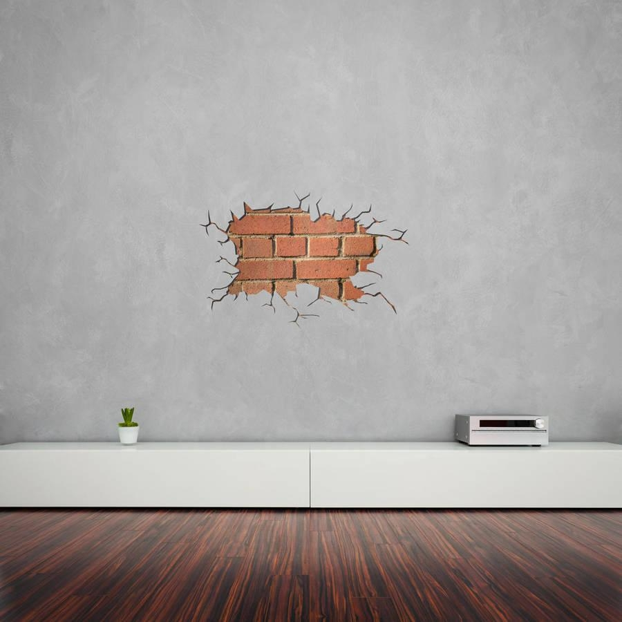 Cracked Wall Bricks Vinyl Wall Artvinyl Revolution For Dna Wall Art (Image 7 of 20)