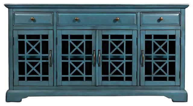 "Craftsman Media Unit, Antique Blue, 60"" – Contemporary Intended For Recent Blue Tv Stands (Image 8 of 20)"