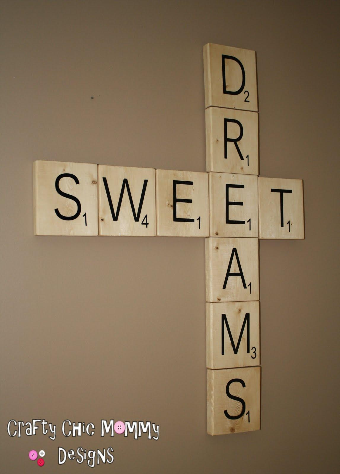 Crafty Chic Mommy: Giant Scrabble Tiles Tutorial With Regard To Scrabble Letters Wall Art (Image 4 of 20)