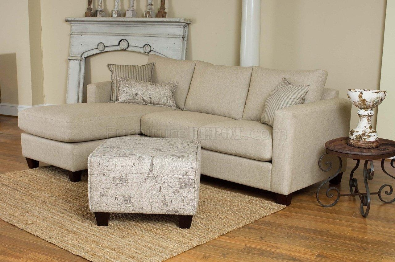 Cream Fabric Modern Reversible Sectional Sofa W/foot Stool Intended For 6 Foot Sofas (View 3 of 22)