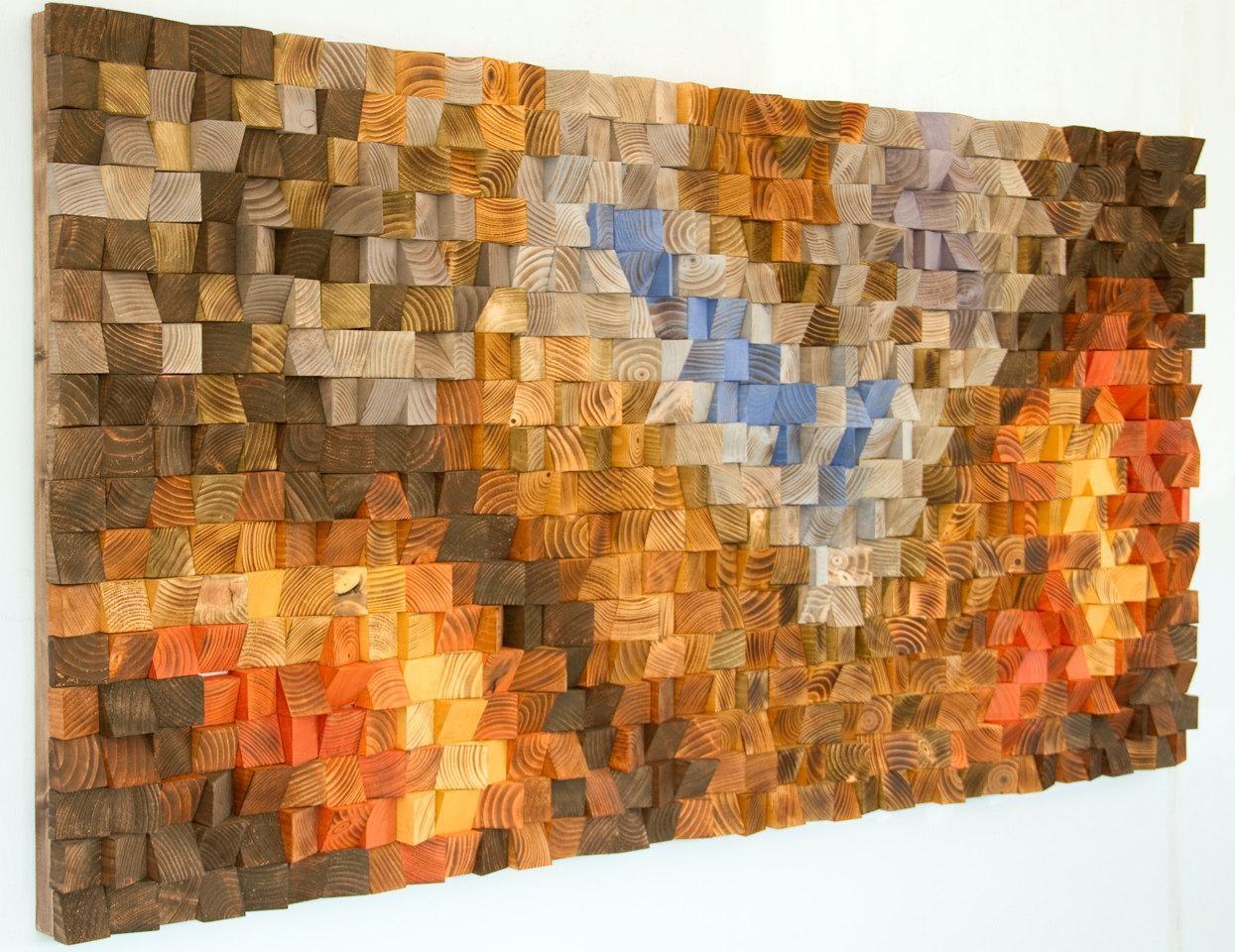Cream Pixel Art Mosaic Wall Art Reclaimed Wood And Italian Glass Pertaining To Italian Wood Wall Art (Image 11 of 20)