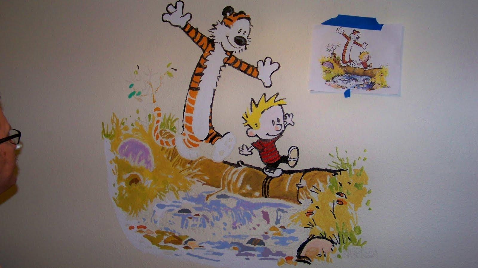 Creating A Mural For The Nursery — Calvin & Hobbes! (Edit: Done With Calvin And Hobbes Wall Art (Image 11 of 20)