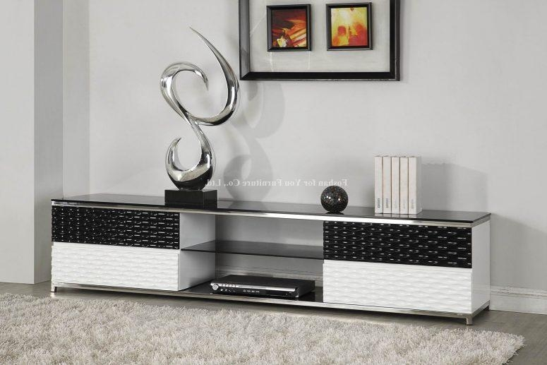 Creative Tv Stand Ideas Brown Varnished Wood Tv Wallpaper Creamy Intended For 2018 Single Tv Stands (Image 5 of 20)